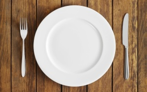 A plate, fork and knife
