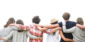 Rear View of Group of Friends Hugging